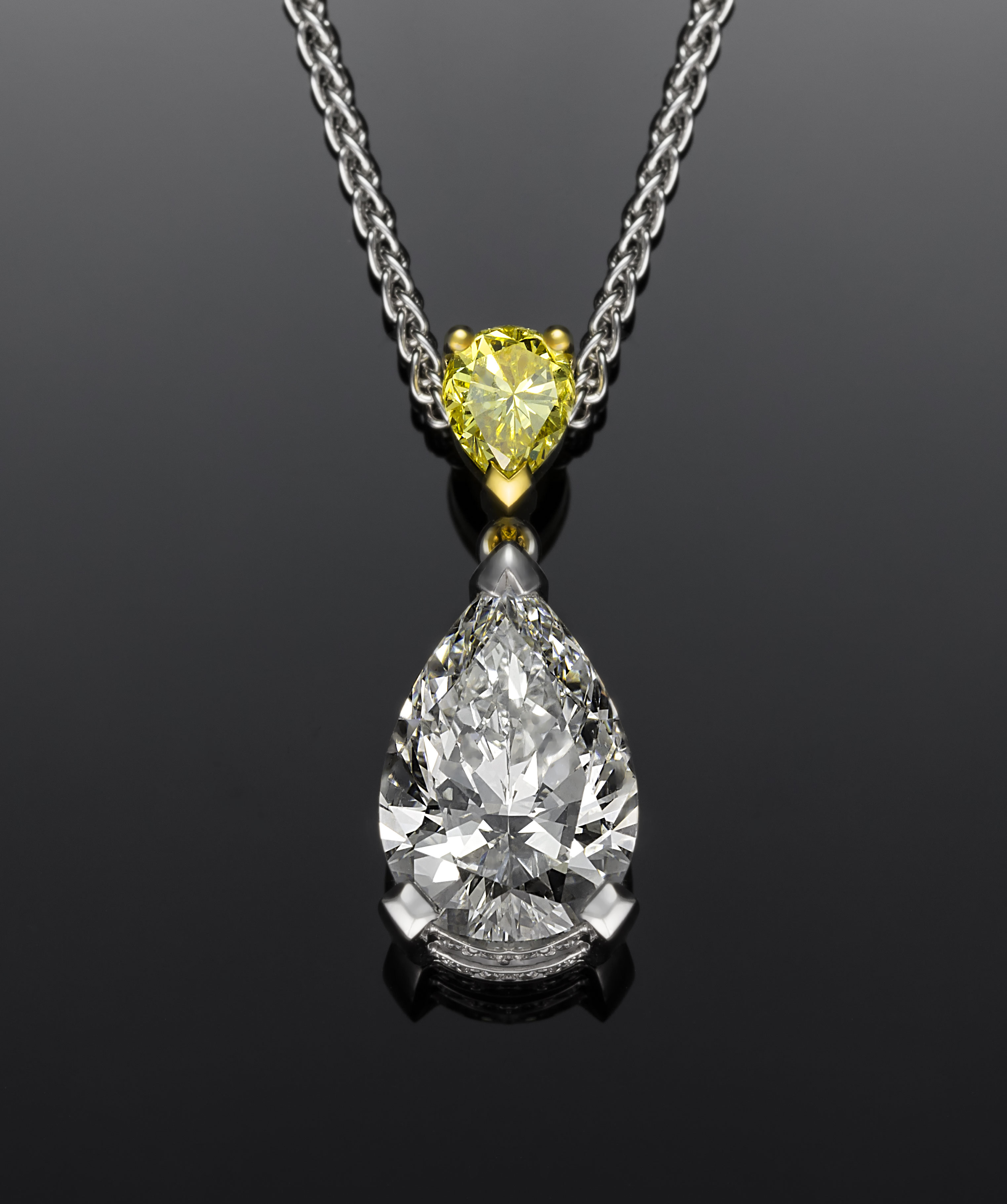 Pear Yellow White Pendant